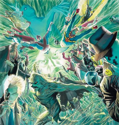 Alan Moore, rodeado de sus personajes