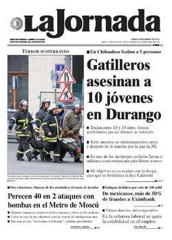 Portada del diario La Jornada del 29 de marzo de 2010